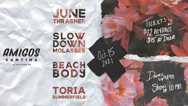 June Thrasher, Slow Down Molasses, Beach Body, Toria Summerfield